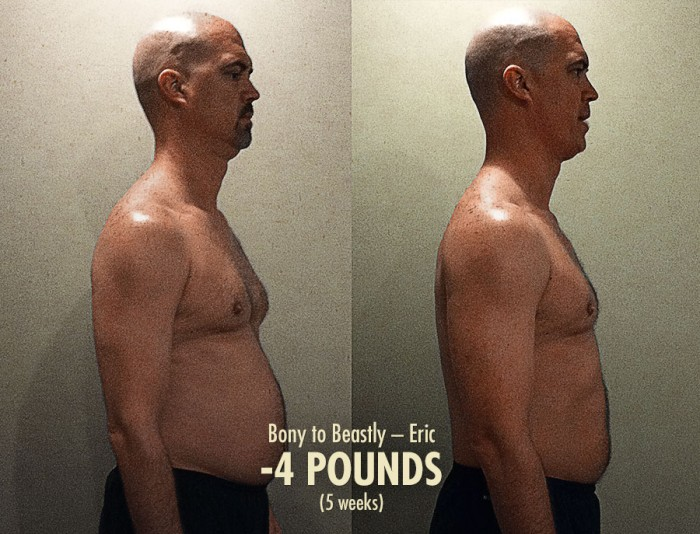 transformação do Eric - um falso-magro depois da definição