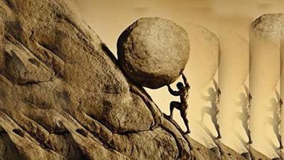 empurrando pedra na montanha