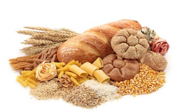 macarrão, pão e outros alimentos com glúten